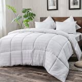 Alternative Comforter - WhatsBedding White Cotton Comforter King Size, Tencel Cotton Content for Cooling, Down Alternative Fill Quilted Duvet Insert, Fluffy, Warm, Soft & Hypoallergenic, Medium Weight for All Season