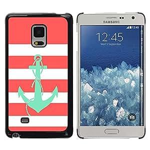 Caucho caso de Shell duro de la cubierta de accesorios de protección BY RAYDREAMMM - Samsung Galaxy Mega 5.8 9150 9152 - Anchor Teal Pink White Lines Sailor Boat