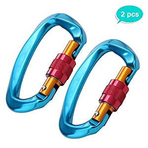 2 Pack Rock Climbing Carabiner , Lightweight and Strong Aluminum , 25 KN D-Shaped Locking Screw Hook With Screw Clip Climber, Holds 5511lbs Buckle For Hammock , Outdoor , Camping , Hiking , Mountain