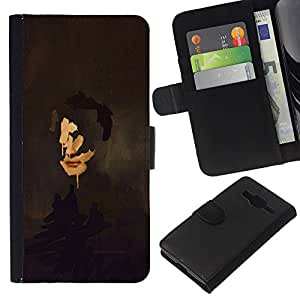 Be-Star la tarjeta de Crédito Slots PU Funda de cuero Monedero caso cubierta de piel Samsung Galaxy Core Prime ( Portrait Painting Art Face Self Reflection )