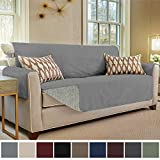 Gorilla Grip Original Slip Resistant Sofa Slipcover Protector, Seat Width Up to 70' Suede-Like, Patent Pending, 2' Straps/Hook, Couch Cover for Kids, Dogs, Pets (Sofa: Charcoal)