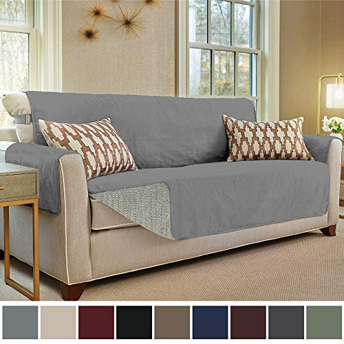 "Gorilla Grip Original Slip Resistant Sofa Slipcover Protector, Seat Width Up to 70"" Suede-Like, Patent Pending, 2"" Straps/Hook, Couch Cover for Kids, Dogs, Pets (Sofa: Charcoal)"