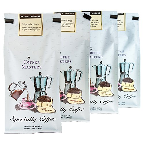 Coffee Masters Flavored Coffee, Highlander Grogg, Ground, 12-Ounce Bags (Pack of 4) ()