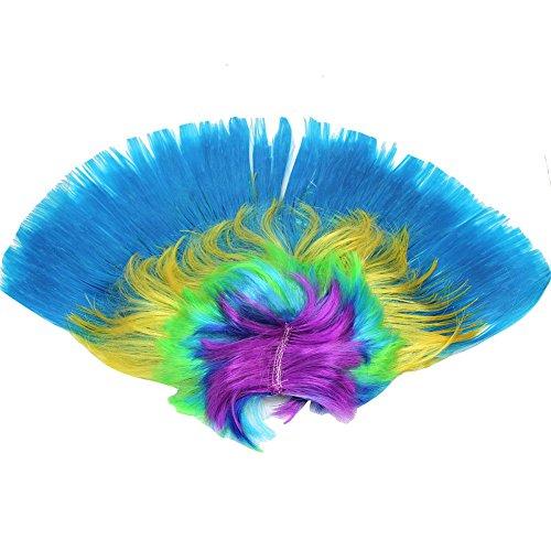 [Unisex Multi Coloured Rainbow Mohawk Punk Wig For Fancy Dress Rocker Costume] (Pictures Of Punk Rocker Costumes)