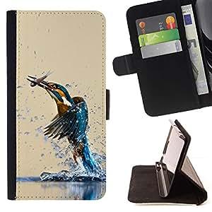 Momo Phone Case / Flip Funda de Cuero Case Cover - Pájaro del martín pescador y FISH - Samsung Galaxy S6 Edge Plus / S6 Edge+ G928