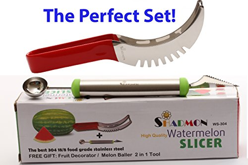 Access Watermelon Slicer Knife Corer Cutter Server All In One. Best quality food grade stainless steel non slip handle cover, FREE GIFT- fruit decorator baller from Shadmon. save