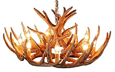 Faux Rustic Whitetail Antler Cascade Chandelier, 12 Antlers, 9 LED bulbs included