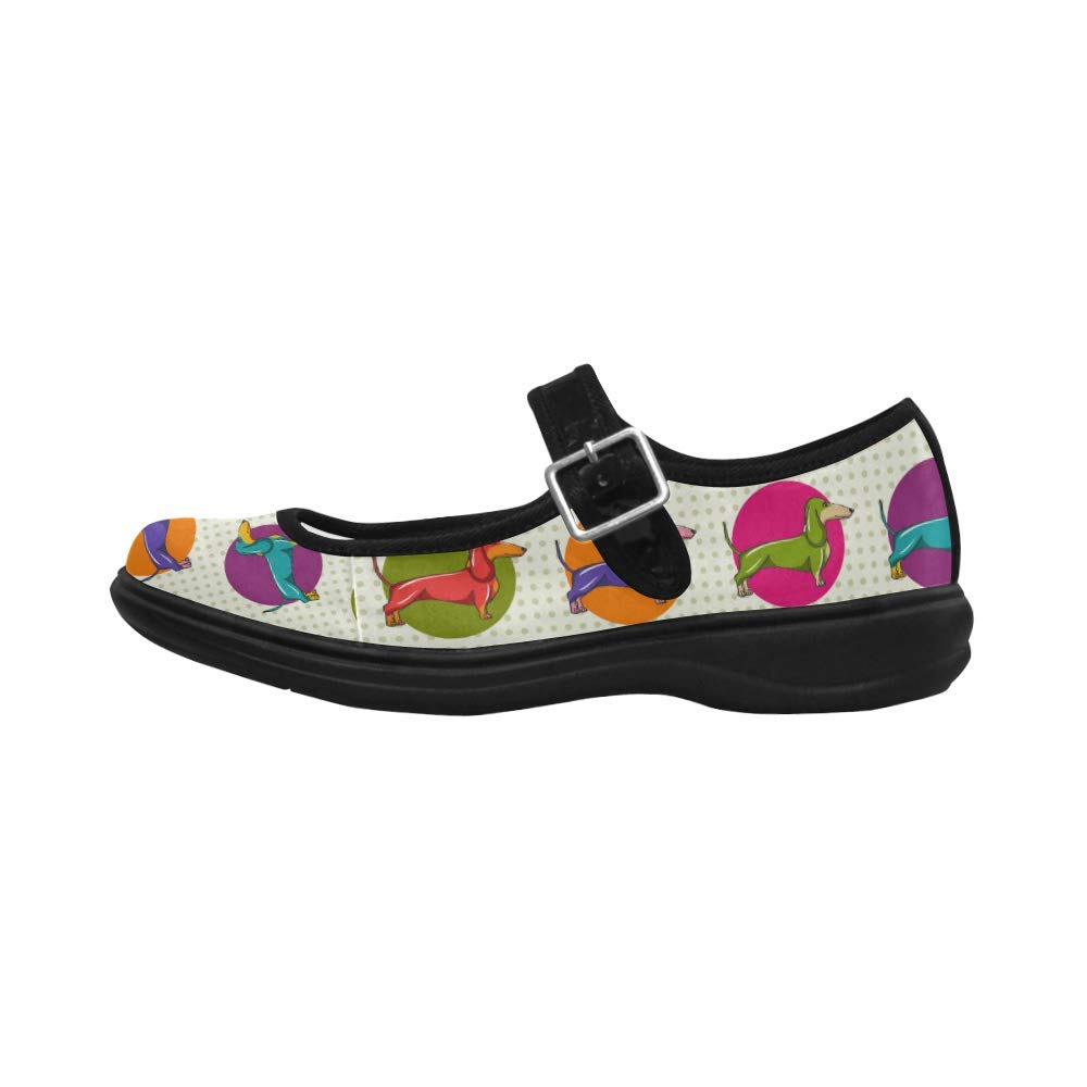 Dachshund Pop Art Style Mary Jane Flats Comfortable Walking Shoes Casual Soft Flats for Women Girls