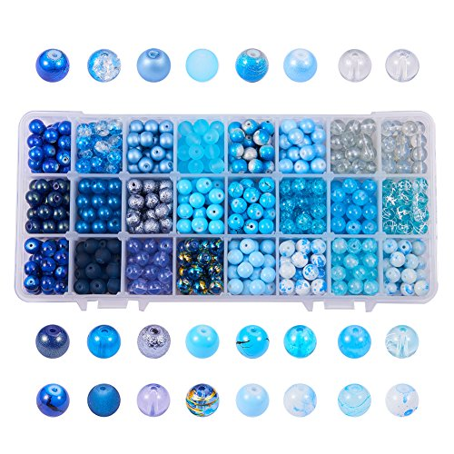 PH PandaHall 1 Box (About 720 pcs) 24 Color 8mm Round Mixed Style Glass Beads Assortment Lot for Jewelry Making, Gradual Blue Series -
