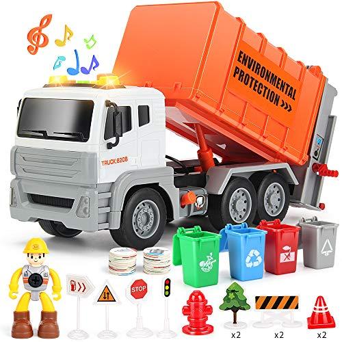 생명을 사랑 12 쓰레기 트럭 장난감 쓰레기 트럭으로 덤프 트럭 4 쓰레기통 마찰 구동 트럭으로 소리와 빛 밀고 가서 다시 풀 자동차 소년에 대 한