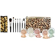 LEOPARD KIT w/ BRUSH BAG SET Mineral Makeup Bare Face Sheer Powder Matte Foundation Cover by Sweet Face Minerals (Fair Shade 2)