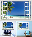 Blue Sky Beach Coconut Tree Tropic Scenery 3D Wall Sticker Sunset Seascape Removable Wallpaper Creative Window View Home Decor (1, 28X40 INCH)