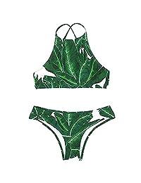 Sexy Women Bikini Green Leaves Printed High Neck Halter Split Bathing Suit Swimsuit