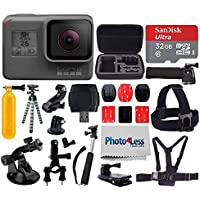 GoPro HERO6 Black Sports Action Video Camera - Waterproof to 33, Wi-Fi, Bluetooth & GPS + SanDisk Ultra 32GB Card + Extendable Monopod + Flexible Tripod + Chest & Head Strap + Jaw Clamp + Accessories