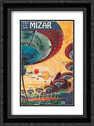Retrosci Fi  Storeis Of The Stars   Floating Colonies Of Mizar 2X Matted 18X24 Black Ornate Framed Art Print By Paul  Frank R