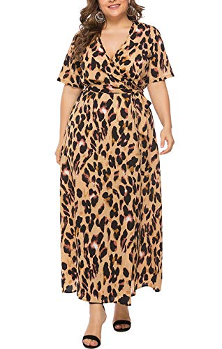 FEOYA Women's Plus Size Leopard Print Short Sleeve Wrap V Neck Belted Empire Waist Maxi Long Dress with Belt