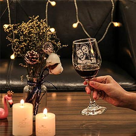 Copa De Vino De Cristal Personalizada Copa De Vino De Cristal Con Foto Personalizada Con Diamante Aniversario Navidad Cumpleaños Regalo Genial(2 Tazas Con La Misma Foto 22 * 8.5CM/8.7 * 3.3IN)