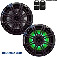 Kicker 6.5 Charcoal LED Marine Speakers (QTY 2) 1 pair of OEM replacement speakers