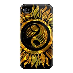 PXq20017PUOQ Tpu Case Skin Protector For Iphone 4/4s Gold Yin Yang With Nice Appearance