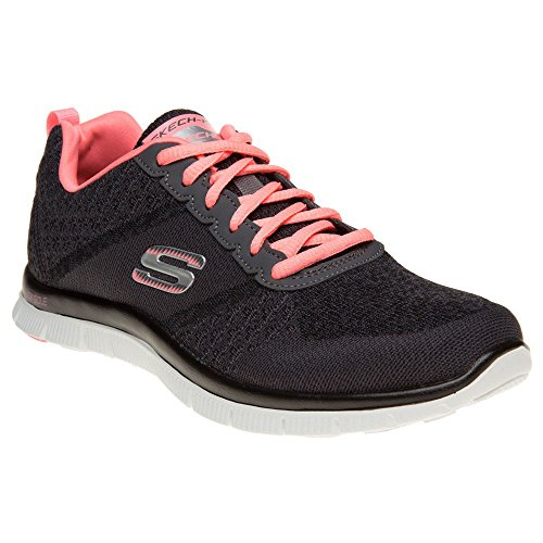 Cheap Skechers Sport Women's Simply Sweet Fashion Sneaker,Charcoal/Pink,8 M US