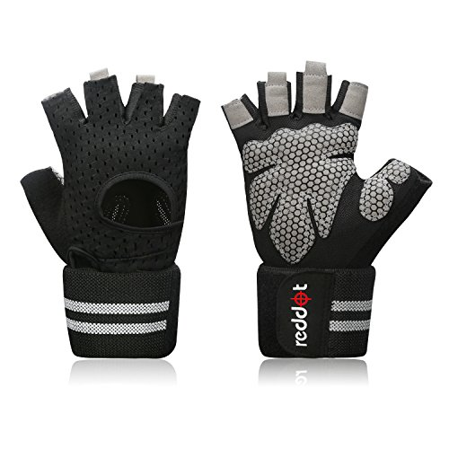 Reddot Workout Gloves - Ultralight Microfiber & Anti-Slip Silica Gel Grip Padded Gym Gloves with Wrist Wrap Support for Light Weightlifting, Cross Training, Fitness, Bodybuilding Men & Women (Pair) (Anti Slip Gloves)