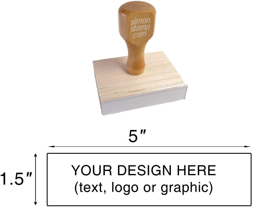 """Image Size: 1-1//4/"""" high x 3/"""" Wide Upload Your Own Artwork 31mm x 76mm - Many Sizes to Choose from Max Traditional Wood Handle Rubber Stamp"""