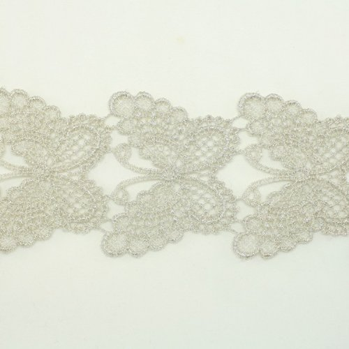 Silver Metallic Lace trim by the yard - Bridal wedding Lace Trim embroidery trim wedding fabric Millinery accent motif scrapbooking crafts lace for baby headband hair accessories dress bridal accessories (Silver Metallic Applique)