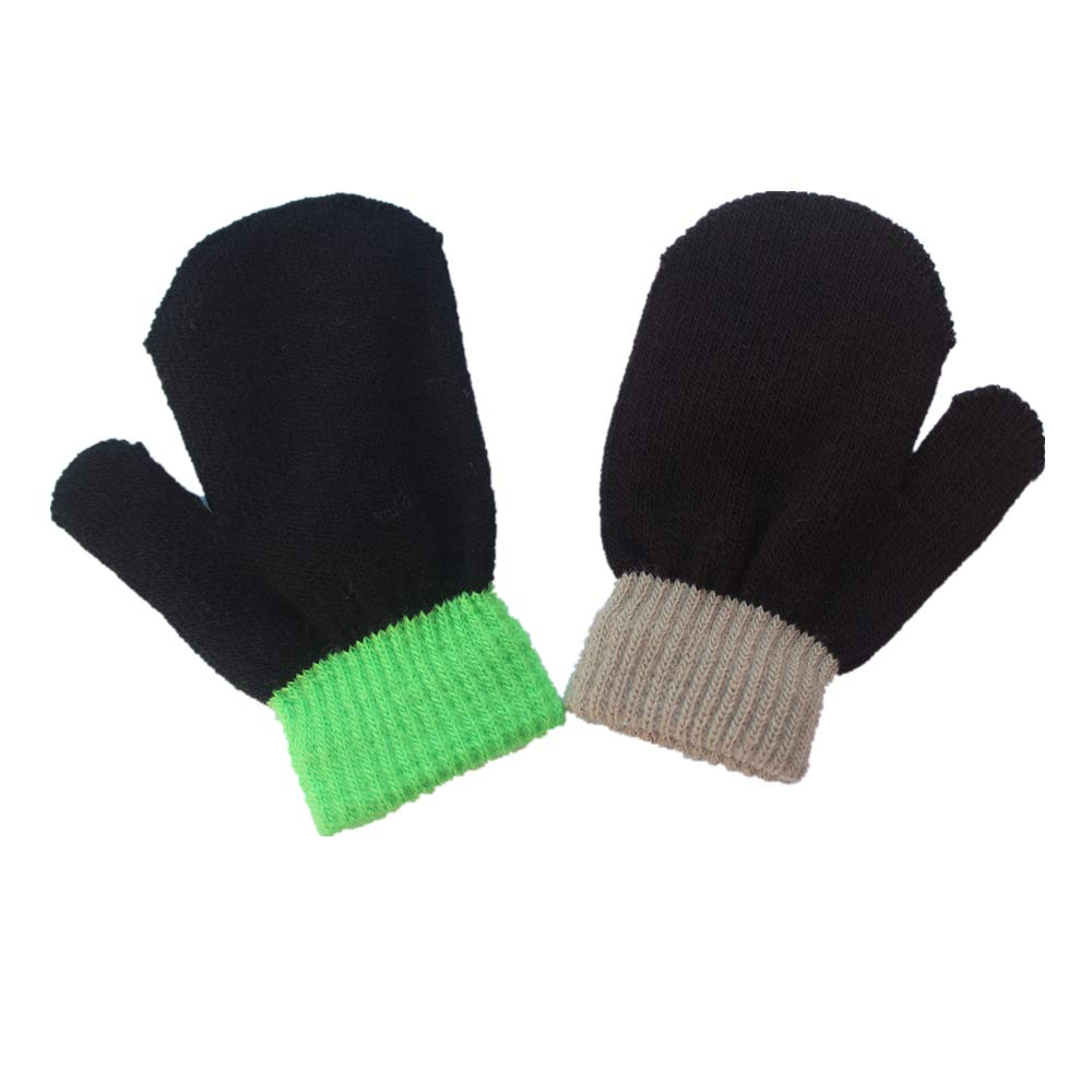 Kids Boys Girls Winter Warm Magic Gloves Colorful Stretchy Knit Glovers 8 Pairs