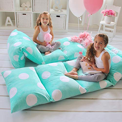 Butterfly Craze Girl's Floor Lounger Seats Cover and Pillow Cover Made of Super Soft, Luxurious Premium Plush Fabric - Perfect Reading and Watching TV Cushion - Great for SLEEPOVERS Slumber ()