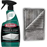 Weiman Granite Cleaner and Polish - 24 Ounce [Large Microfiber Cloth] - Enhances Natural Color in Granite Quartz Stone and Marble
