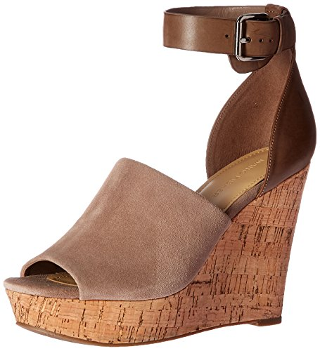 Marc Fisher Women's Hadeya Wedge Sandal, Taupe, 8 Medium US
