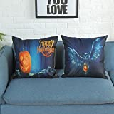 "Set Of 2 Packs Throw Pillow Cases - Halloween Ghost Print Flax + Hidden Zipper Closure + 18"" x 18"" Sofa Cushion Cover"