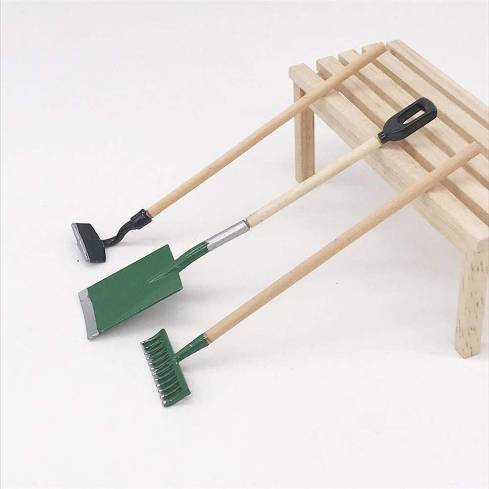 1:12 Dolls House Garden Rain Boot Shovel Cart Tool Accessory Decorative Toy