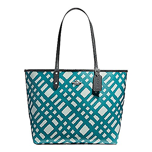 Tote Reversible Signature PVC Navy Coach City F36609 8wXgqg