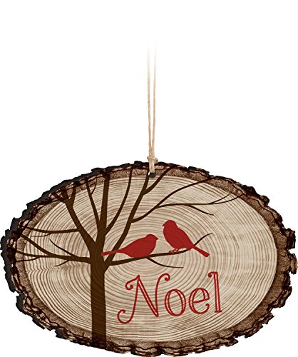 - P. Graham Dunn Noel Tree Birds Rustic Bark Look Wood Christmas Ornament