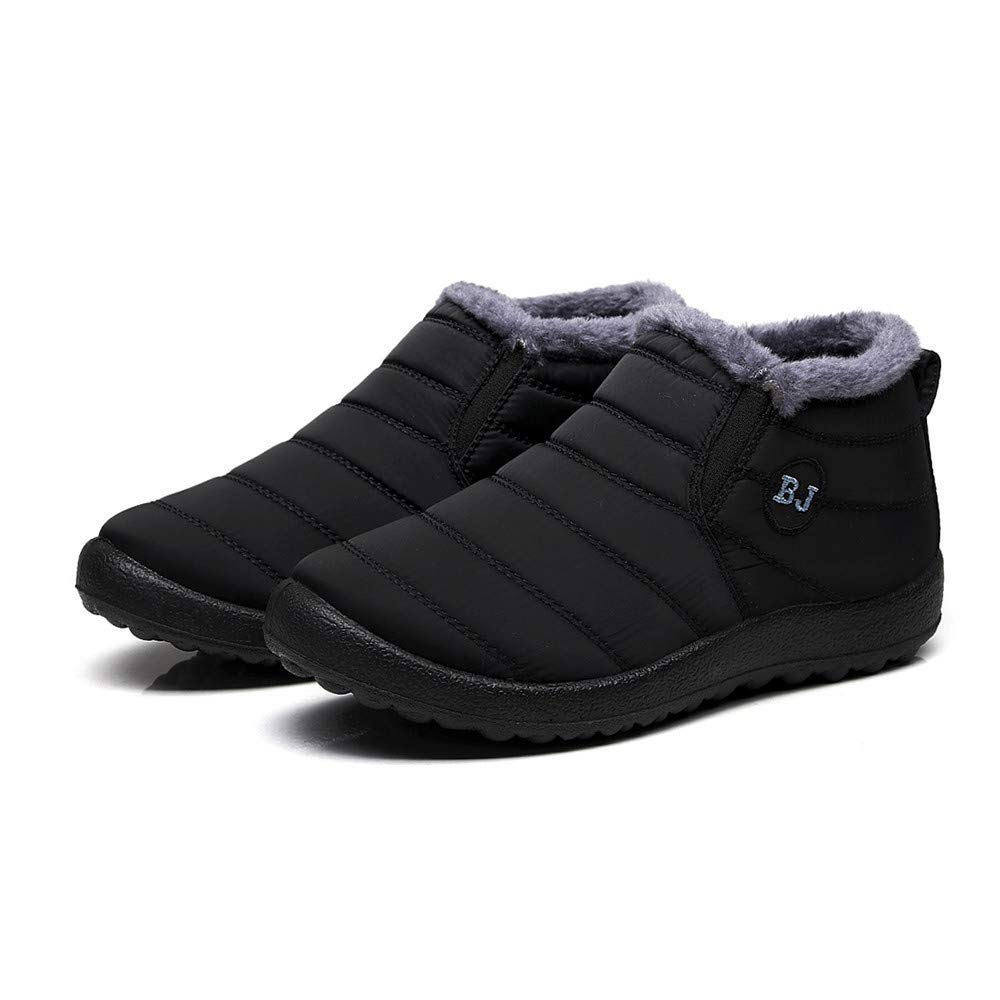 Color : Jungen Schwarz, Size : 40 EU GouuoHi Womens Shoes Women Flat Water Repellent Winter Boots with Short Boots Soft and Comfortable Pair Shoes Keep Warm Cosy Wild Tight Super Quality for Womens