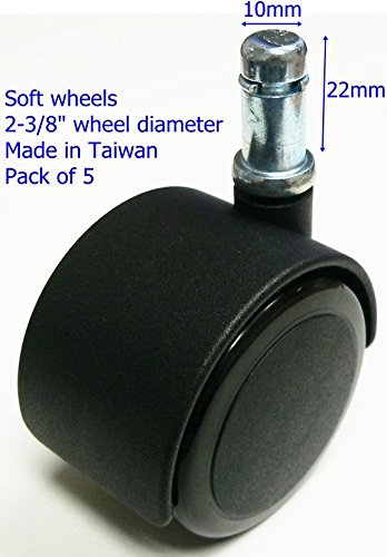 "Oajen 2-3/8"" 60mm soft wheel chair caster wheel hardwood ..."