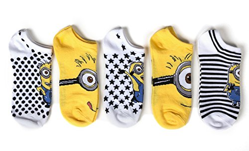 Universal Minions Womens Mod 5 Pk  No Show Sock Size 9 11