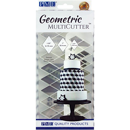 PME GMC134 Set of 3 Geometric MultiCutter, Diamond for Cake Design, White