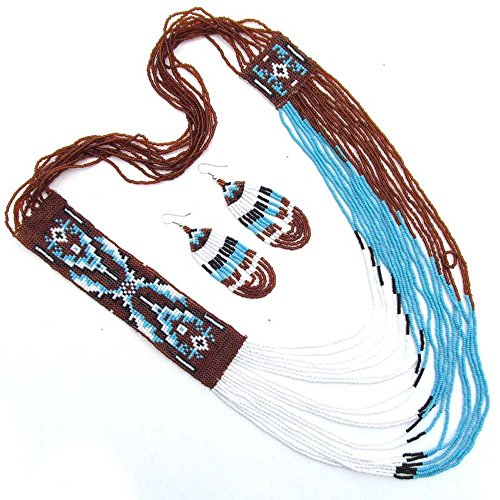 Turquoise Blue brown Seed Beaded Beadwork Necklace Earrings Jewelry 53/3