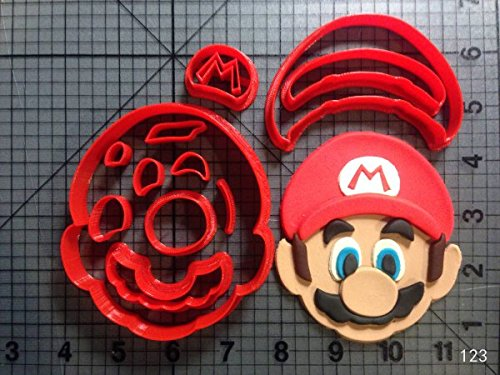 1 Set Cute Custom Made 3D Printed Game Super Mario Question Block Cookie Cutter Set Fondant Cupcake Cup Cake Moulds for Cookie Cutter
