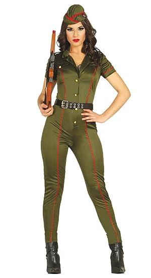 FIESTAS GUIRCA Mono Militar de tamaño de Disfraz de Mujer ...