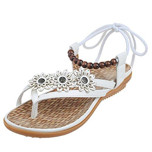 Blanc Pu Métal Noires Chaussures Femmes Pour 010 Plates Zoerea Boucle L'été Sandales qtTRXnwv