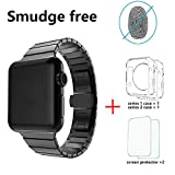LDFAS Apple Watch Band 42mm Stainless Steel Link Bracelet with Butterfly Closure for Apple Watch Series 1 / 2 - Black [Set]