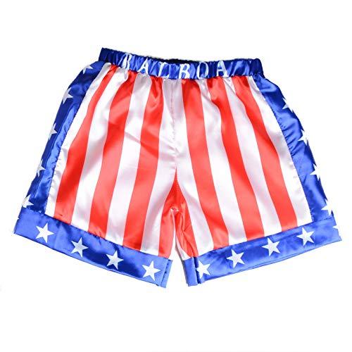 Children Costume Classic Movie Apollo Boxing American Flag Shorts Trunks Italian Stallion Boxers (Apollo Flag, S)