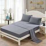 Yaheeda 4PC Brushed Soft Microfiber Flowers Embroidered Bed Sheet Set, Fitted & Flat Sheet & Pillowcases, Cozy Comfortable, Wrinkle, Fade, Stain Resistant, Deep Pockets