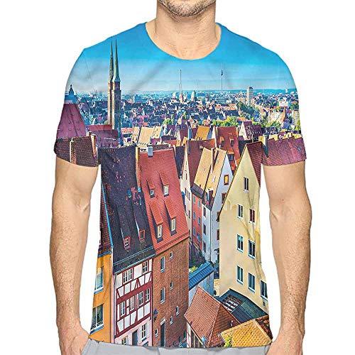 Jinguizi Mens t Shirt City,German Town Nuremberg Skyline HD Print t Shirt XXL -