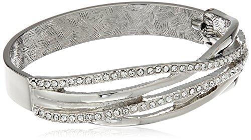 T Tahari Silver Crystal Hinge Cuff Bangle Bracelet Crystal Hinge Bangle Bracelet
