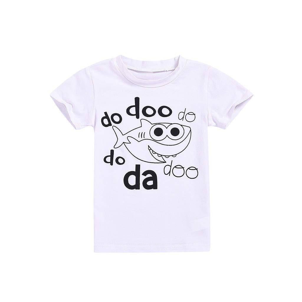 6M-4Y Toddler Children Kid Baby Organic Cartoon T-Shirt Shark Print Cute Casual Crewneck Shirts Short Sleeve Tees Clothes (12-18 Months)