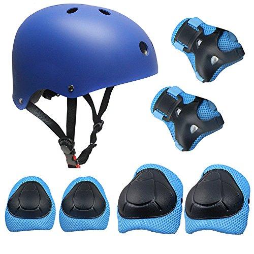 Casco Rodilleras y Coderas Para Niños Protecciones Skate Patines SKL Casco Tamaño Ajustable Deportivos BMX Bicicleta, Monopatín (Azul): Amazon.es: Deportes ...
